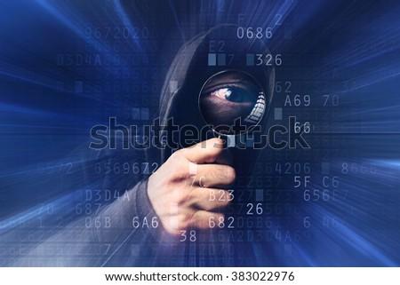 Spyware szoftver kapucnis hacker nagyító vírus Stock fotó © stevanovicigor