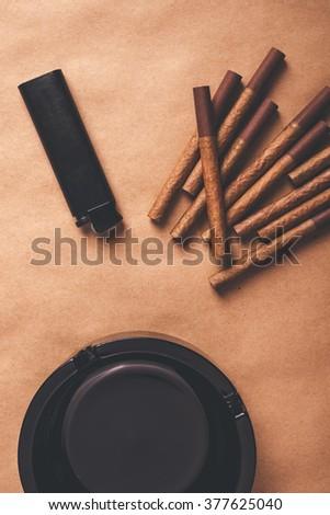 appassionato · fumatore · tavola · top · view - foto d'archivio © stevanovicigor