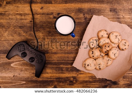 csokoládé · chip · sütik · csésze · fa · asztal · étel - stock fotó © stevanovicigor