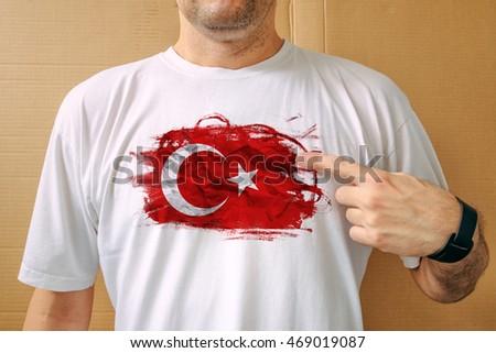 Yakışıklı adam beyaz gömlek türk bayrak Stok fotoğraf © stevanovicigor