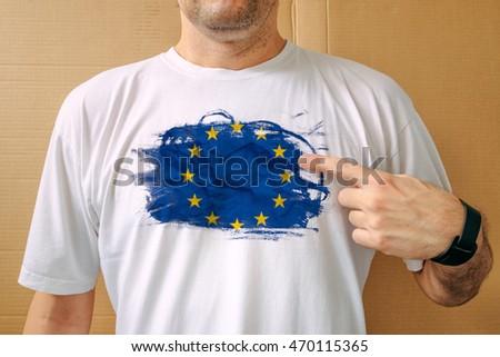 Man wearing white shirt with EU flag print Stock photo © stevanovicigor