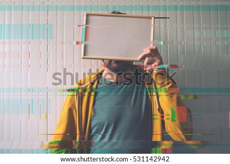 méconnaissable · homme · posant · cadre · photo · visage · espace · de · copie - photo stock © stevanovicigor