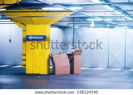 пусто картона коробки подземных гаража стоянка Сток-фото © stevanovicigor