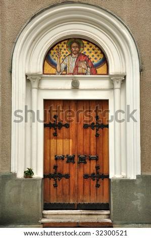 templom · ajtók · öreg · fából · készült · zárva · város - stock fotó © stevanovicigor