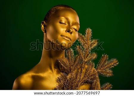 Gyengéd modell testművészet csukott szemmel közelkép izolált Stock fotó © deandrobot