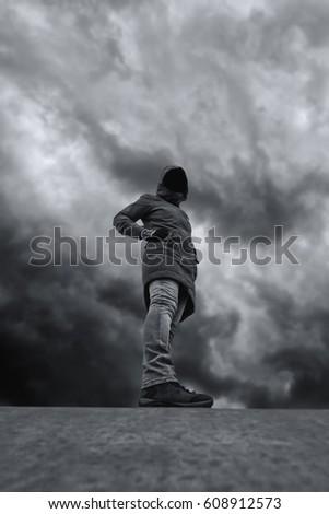 Unrecognizable hooded person in empty skateboarding park Stock photo © stevanovicigor