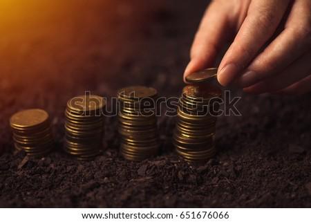 Female farmer stacking coins, making money in agriculture Stock photo © stevanovicigor