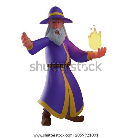 3D Witch with his magic broom. Halloween Stock photo © texelart