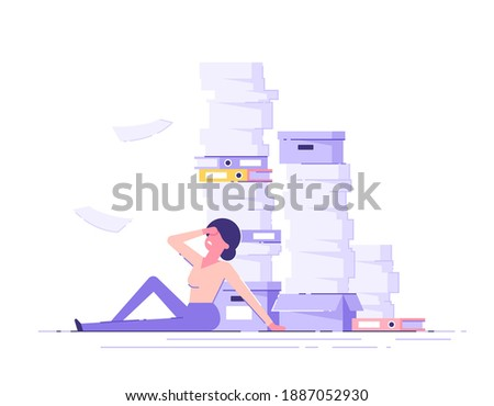 Businesswoman sitting around a pile of office papers and documents. Documents and file Routine, bure Stock photo © makyzz