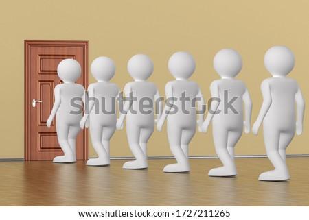 queue people near door. 3d illustration Stock photo © ISerg