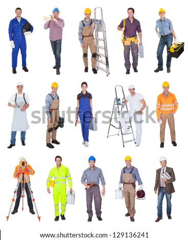 Isolated Happy Tradesman Construction Worker Men Stock photo © AndreyPopov