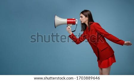 Sexy woman with megaphone Stock photo © AndreyPopov