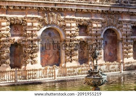 statues fountain royal symbol garden alcazar royal palace sevill stock photo © billperry