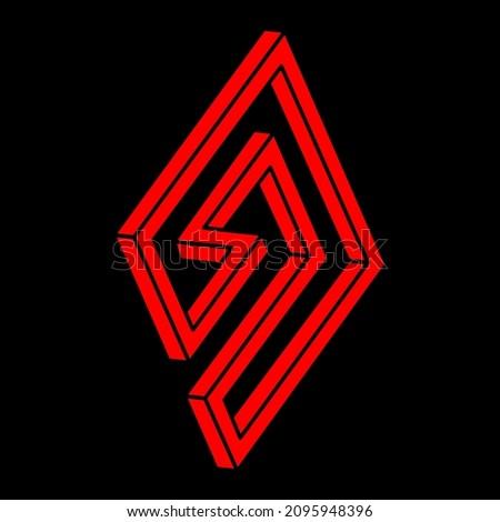 four penrose triangles optical illusion  business logo stock photo © shawlinmohd