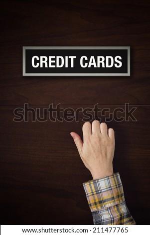 Hand is knocking on Credit Cards door Stock photo © stevanovicigor