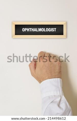 male patient knocking on ophthalmologist door stock photo © stevanovicigor