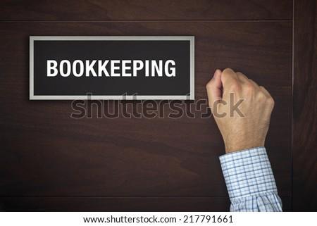 Businessman knocking on Bookkeeping office door Stock photo © stevanovicigor