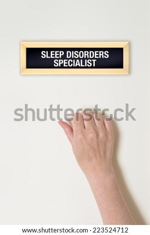 Female hand is knocking on Sleep Disorder specialist door Stock photo © stevanovicigor