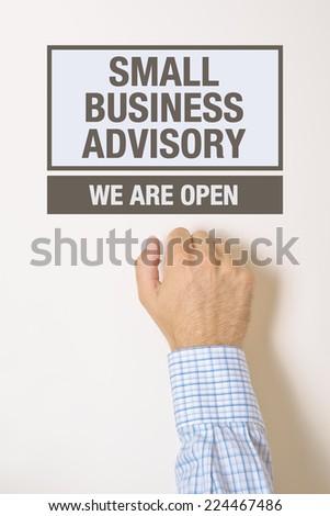 Empresário empresa de pequeno porte porta olhando ajudar conselho Foto stock © stevanovicigor