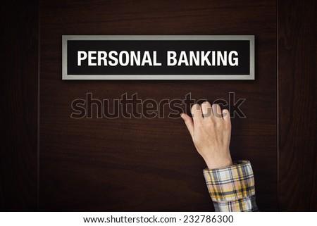 Hand is knocking on Personal banking door Stock photo © stevanovicigor