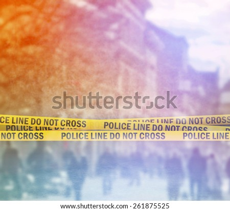 Police Line Headband Tape On the Street Stock photo © stevanovicigor