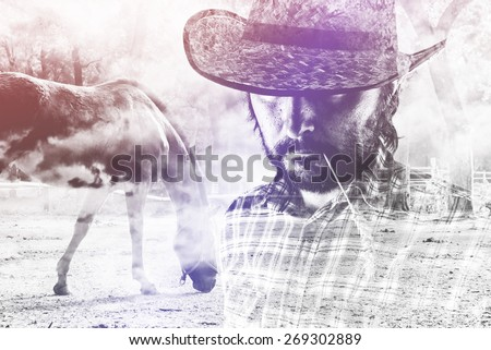 Cowboy Farmer wearing Straw Hat on Horse Ranch Stock photo © stevanovicigor