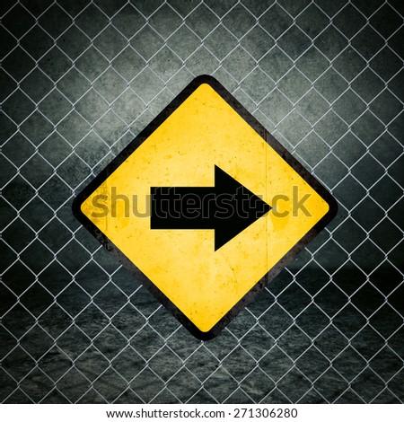 Stock fotó: Helyes · irányítás · grunge · citromsárga · figyelmeztető · jel · kerítés