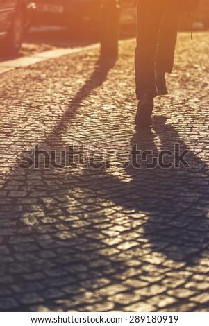 Ejecutando nino sombra pavimento madrugada Foto stock © stevanovicigor