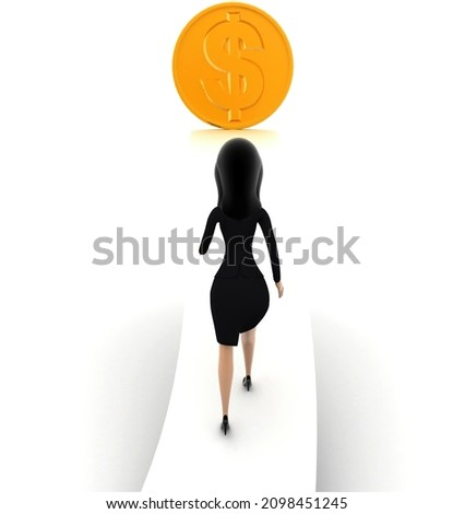 3d девушку ходьбе стрелка доллара белый назад Сток-фото © nithin_abraham