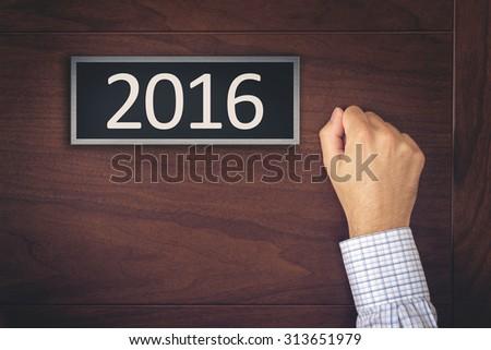 Imprenditore capodanno 2016 porta numero ufficio Foto d'archivio © stevanovicigor