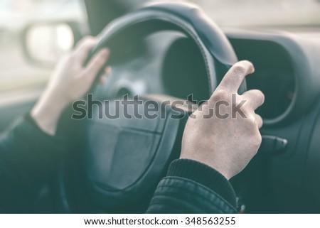 female driver hands griping steering wheel stock photo © stevanovicigor