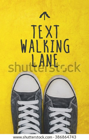 Szöveg sétál sáv lezser sportcipők felső Stock fotó © stevanovicigor