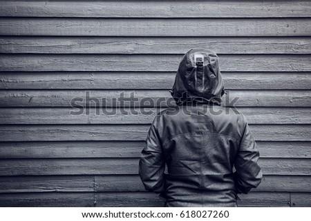 kapucnis · kabát · portré · gyönyörű · nő · visel · tél - stock fotó © stevanovicigor