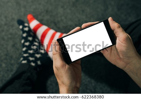 Hombre EUA bandera calcetines teléfono móvil Foto stock © stevanovicigor