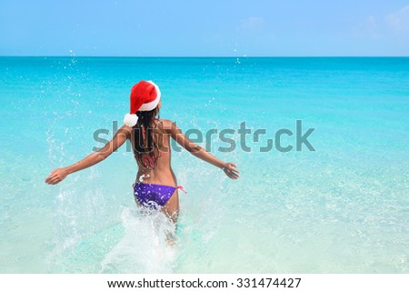 Sexy beach body bikini woman swimming in ocean Stock photo © Maridav