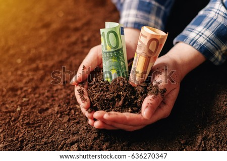 mains · fertile · sol · euros · argent - photo stock © stevanovicigor