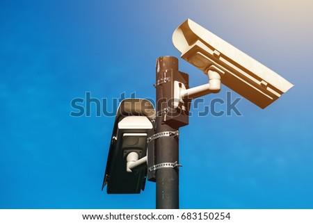 CCTV camera, modern era anti-terrorist electronic surveillance Stock photo © stevanovicigor