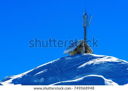 Kicsi kunyhó kommunikáció hegy felső fából készült Stock fotó © stevanovicigor