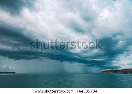 Stormu sky with clouds over Portoroz seascape Stock photo © stevanovicigor