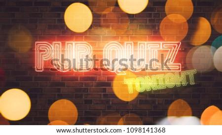Kocsma kvíz neonreklám téglafal 3d render illusztráció Stock fotó © stevanovicigor