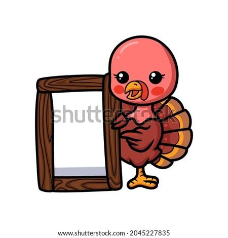 Cartoon Baby Turkey Wood Sign Stock photo © cthoman
