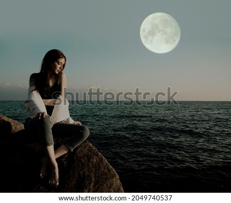 портрет девушки морем сидят пород игрушку Сток-фото © ElenaBatkova