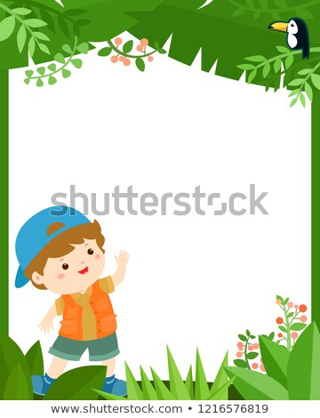 Frame template with happy kid hiking Stock photo © bluering