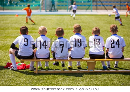 gyerekek · sportcsapat · futballpálya · csoport · gyerekek · ül - stock fotó © matimix
