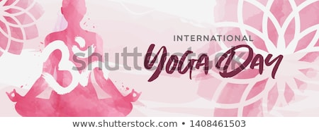 yoga day card of pink watercolor woman and flowers stock photo © cienpies