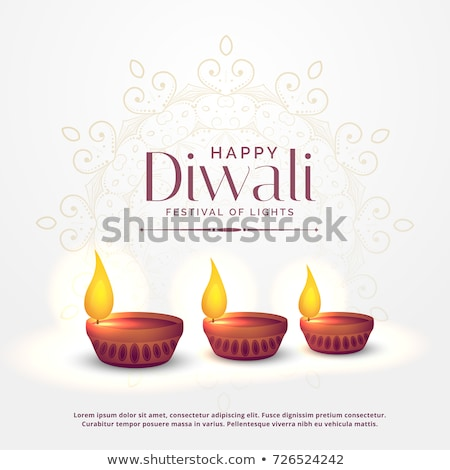 happy diwali festival card design with three diya Stock photo © SArts