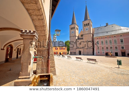 Berchtesgaden town square and historic church view, Stock photo © xbrchx