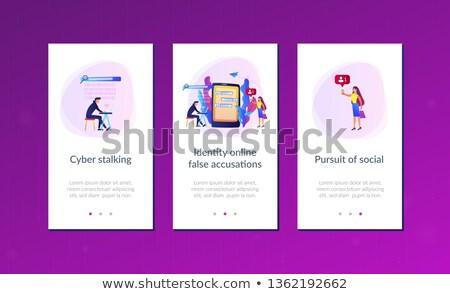 app · interface · sjabloon · laptop · slachtoffer · berichten - stockfoto © rastudio