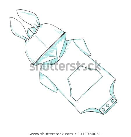 Infant bodysuit with the rabbit's ears on the hood. Sketch Stock photo © Arkadivna