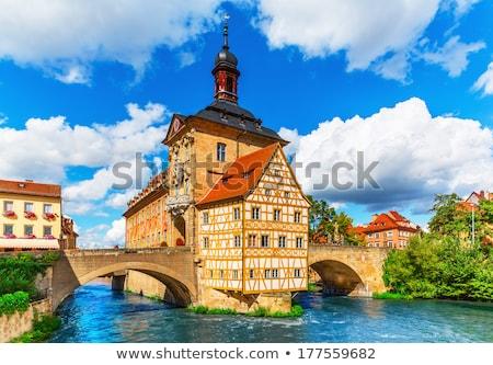 Utca Németország történelmi házak város központ Stock fotó © borisb17